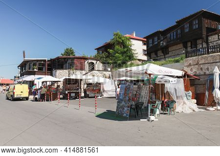 Nessebar, Bulgaria - July 21, 2014: Coastal View Of Old Nessebur. People Are On The Street