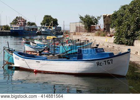 Nessebar, Bulgaria - July 21, 2014: Fishing Boats Are Moored In Old Port Of Nesebar