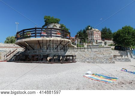 Nessebar, Bulgaria - July 21, 2014: Tourists Viewpoint On The Public Beach In Old Town Nesebar, Blac