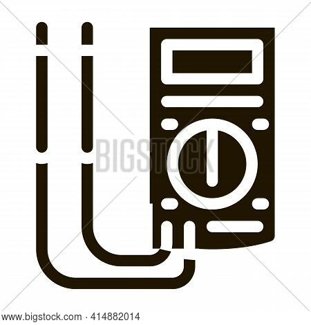 Ammeter Tool Glyph Icon Vector. Ammeter Tool Sign. Isolated Symbol Illustration