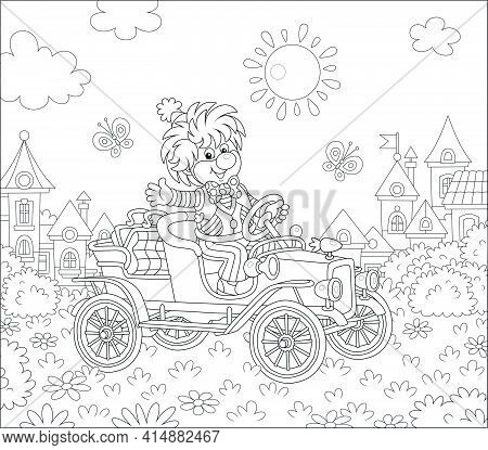 Friendly Smiling Clown In A Comic Suit Driving A Funny Retro Car In A Circus Performance On A Playgr