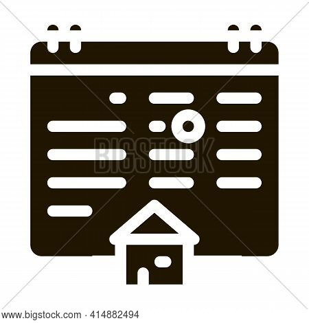 House Buy Deal Date Glyph Icon Vector. House Buy Deal Date Sign. Isolated Symbol Illustration