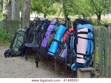 Heavy Rucksacks Packed Outdoors