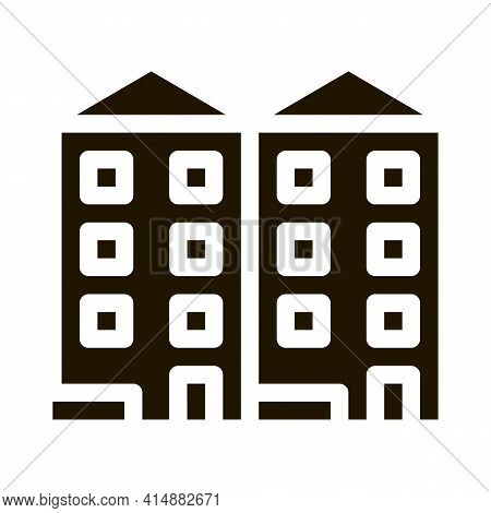 Apartment Houses Glyph Icon Vector. Apartment Houses Sign. Isolated Symbol Illustration
