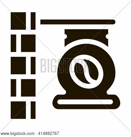 Coffee Cafe Nameplate Glyph Icon Vector. Coffee Cafe Nameplate Sign. Isolated Symbol Illustration