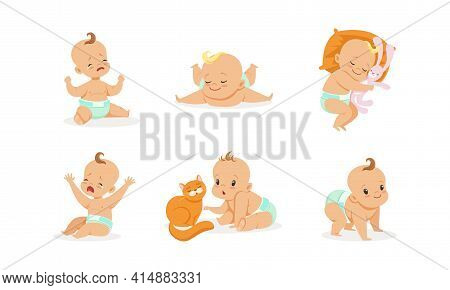Infant Baby Different Activities Set, Adorable Baby Boys And Girls Playing, Sleeping, Crying, First