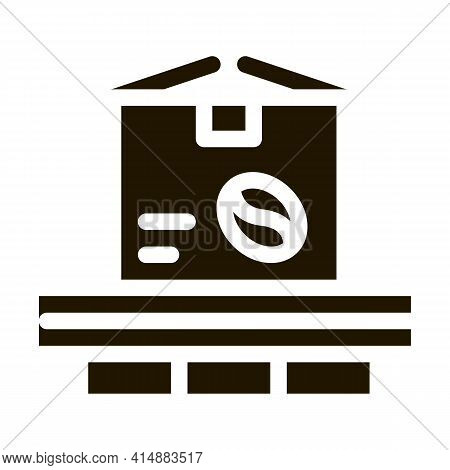 Coffee Production Conveyor Glyph Icon Vector. Coffee Production Conveyor Sign. Isolated Symbol Illus