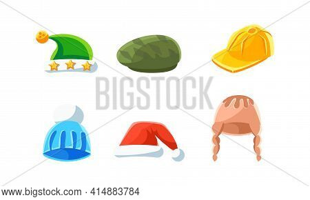 Set Of Hats And Headgears, Male And Female Headwear, Classic And Modern Hats Cartoon Vector Illustra