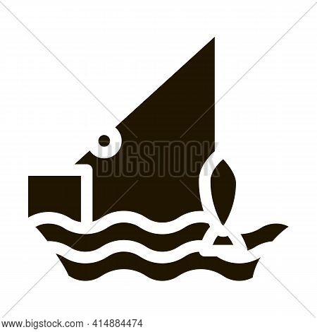 Fishing Rod Glyph Icon Vector. Fishing Rod Sign. Isolated Symbol Illustration