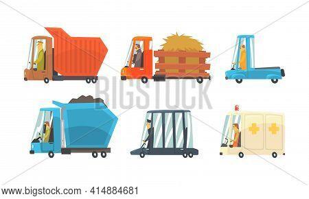 Set Of Different Vehicles, Truck, Taxi Cab, Ambulance Car Cartoon Vector Illustration