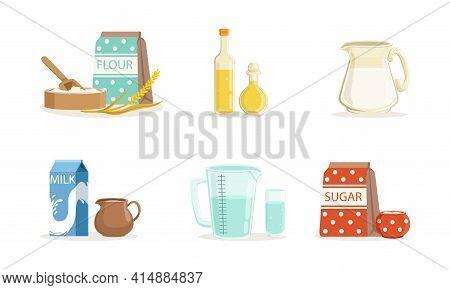 Baking Ingredients Set, Bakery Ingredients, Flour Packaging , Bottle Of Oil, Milk, Sugar Cartoon Vec