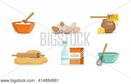 Baking Ingredients Set, Bakery Ingredients, Egg, Honey, Dough, Soda, Vinegar, Bowl And Whisk Cartoon