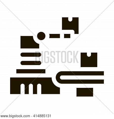 Robotic Manufacturing Glyph Icon Vector. Robotic Manufacturing Sign. Isolated Symbol Illustration