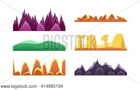 Hills And Mountains Set, Seamless Landscape Design Element For Game Interface Cartoon Vector Illustr