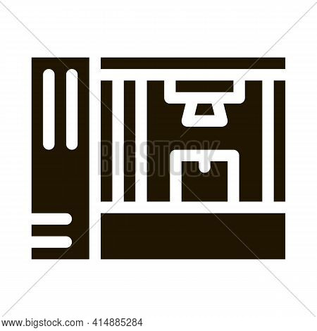 Manufacturing 3d Printer Glyph Icon Vector. Manufacturing 3d Printer Sign. Isolated Symbol Illustrat