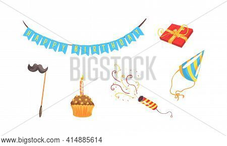 Birthday Party Symbols Set, Festive Party Celebration Objects, Party Flags Garland, Cupcake, Gift Bo