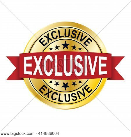 Golden Exclusive Label, Vector Illustration On White