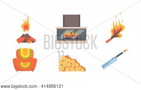 Fireplace Accessories Collection, Home Fireplace With Burning Flame, Lighter, Matches, Armchair Cart