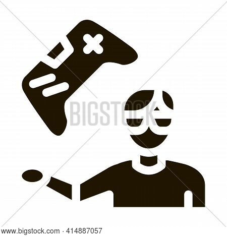 Gamer Gaming Glyph Icon Vector. Gamer Gaming Sign. Isolated Symbol Illustration