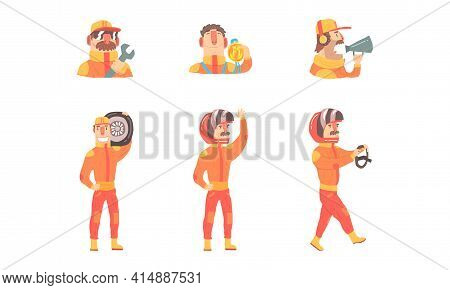 Race Drivers Set, Racer Characters Wearing Orange Costume And Helmet Cartoon Vector Illustration