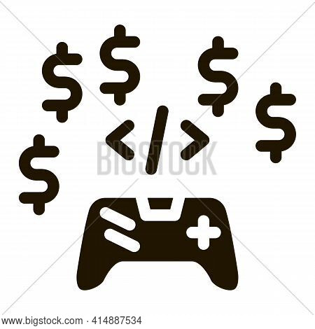 Game Coding And Sell Glyph Icon Vector. Game Coding And Sell Sign. Isolated Symbol Illustration