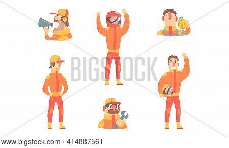 Race Drivers Set, Male Racer Characters Wearing Orange Costume And Helmet Cartoon Vector Illustratio
