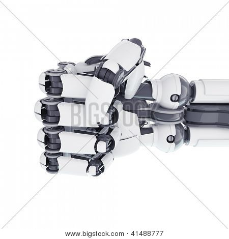 Isolated robotic fist on white background