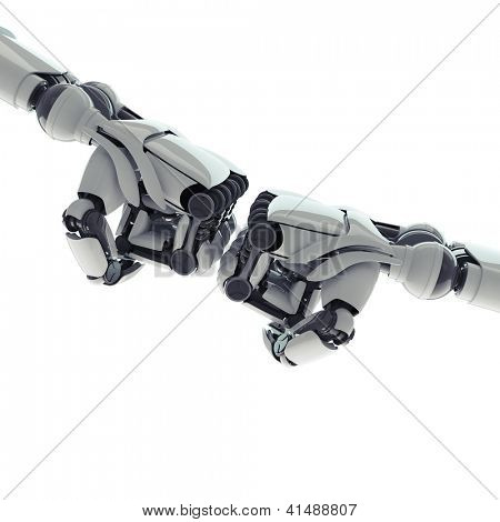 Two isolated robotic fists on white background