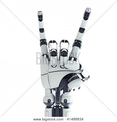 Isolated robotic arm showing rock sign on white background