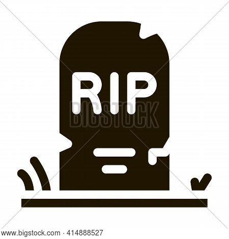 Halloween Rip Tombstone Glyph Icon Vector. Halloween Rip Tombstone Sign. Isolated Symbol Illustratio