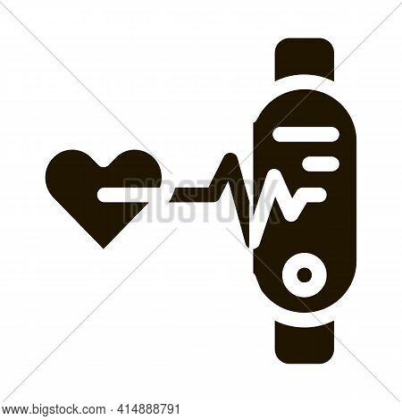 Heart Examination Glyph Icon Vector. Heart Examination Sign. Isolated Symbol Illustration