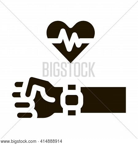 Heart Examination Device Glyph Icon Vector. Heart Examination Device Sign. Isolated Symbol Illustrat