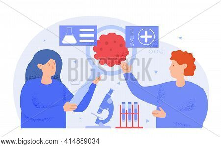 Male And Female Professional Oncologists Are Working Together In Lab. Concept Of Cancer Disease Diag