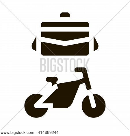 Office Transportation Bicycle And Case Glyph Icon Vector. Office Transportation Bicycle And Case Sig