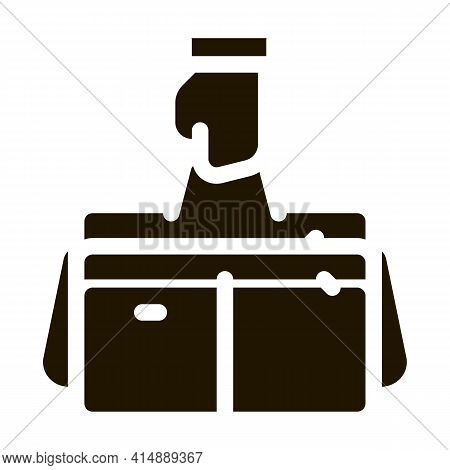 Hand Holding Case Glyph Icon Vector. Hand Holding Case Sign. Isolated Symbol Illustration