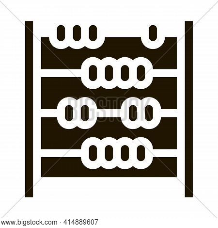 Abacus Counter Glyph Icon Vector. Abacus Counter Sign. Isolated Symbol Illustration