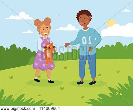 Little Cute Boy And Girl Are Having Fun Outdoors With Cat. Little Children Are Playing With Cat In A