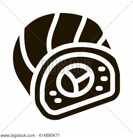 Sushi Roll Japanese Meal Glyph Icon Vector. Sushi Roll Japanese Meal Sign. Isolated Symbol Illustrat
