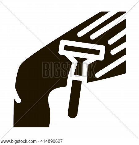 Shaving Legs With Razor Glyph Icon Vector. Shaving Legs With Razor Sign. Isolated Symbol Illustratio