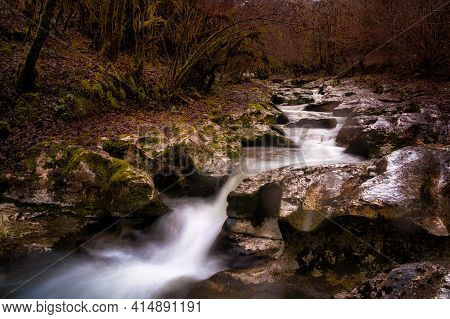 Flowing Water Among Forest. Mountain River Flowing Betwing Rocks
