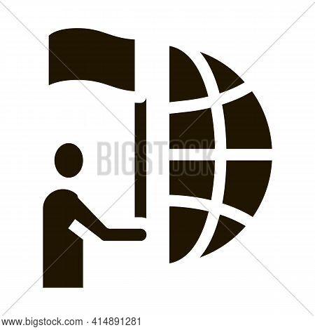 Human Hold Flag And Choice Place On Earth Glyph Icon Vector. Human Hold Flag And Choice Place On Ear