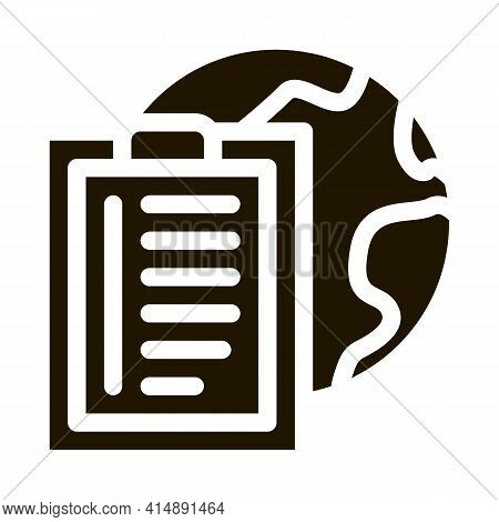 Earth Sphere And Task Paper List On Clipboard Glyph Icon Vector. Earth Sphere And Task Paper List On