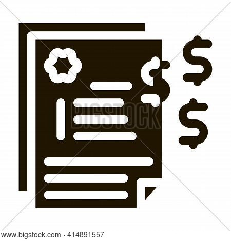 Financial Agreement Glyph Icon Vector. Financial Agreement Sign. Isolated Symbol Illustration