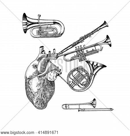 Music Of The Heart In Vintage Style. Jazz Musical Trombone Trumpet Flute French Horn Saxophone. Hand