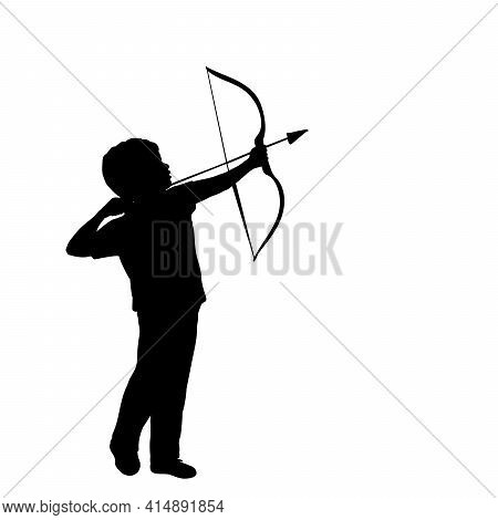 Silhouette Little Boy Shoots Bow. Illustration Graphics Icon Vector