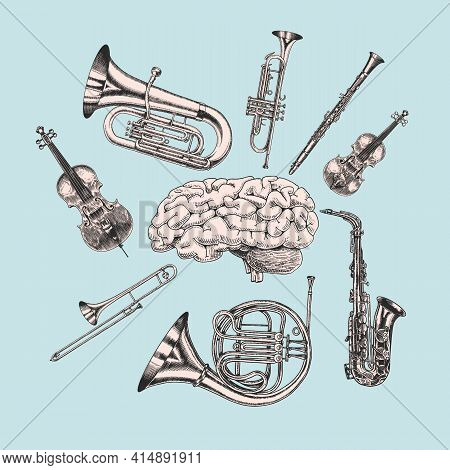 Music And Brain In Vintage Style. Jazz Musical Trombone Trumpet Flute French Horn Saxophone. Hand Dr