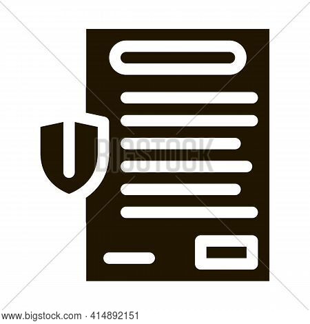 Insurance Agreement Paper List Glyph Icon Vector. Insurance Agreement Paper List Sign. Isolated Symb