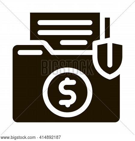 Insurance Agreement Folder Glyph Icon Vector. Insurance Agreement Folder Sign. Isolated Symbol Illus