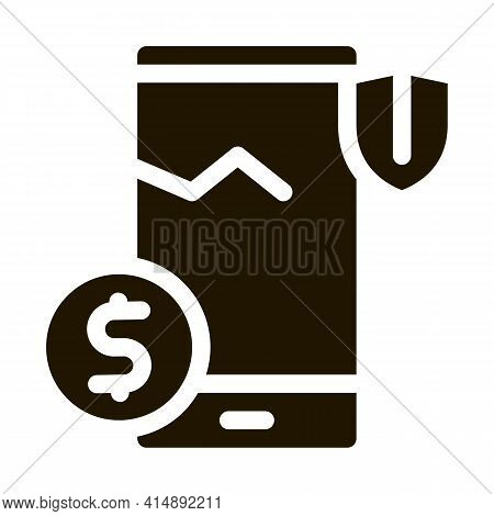 Crashed Phone Screen Insurance Glyph Icon Vector. Crashed Phone Screen Insurance Sign. Isolated Symb