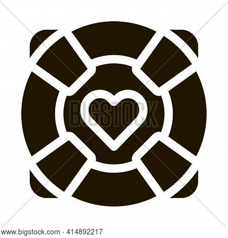 Lifebuoy With Heart Glyph Icon Vector. Lifebuoy With Heart Sign. Isolated Symbol Illustration